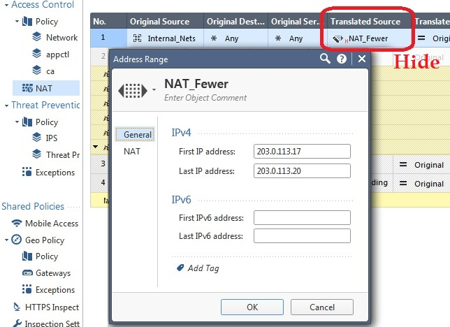 How to set up many to fewer Hide NAT