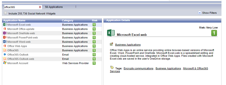 Allow Office 365 services in Application Control &    - Check Point