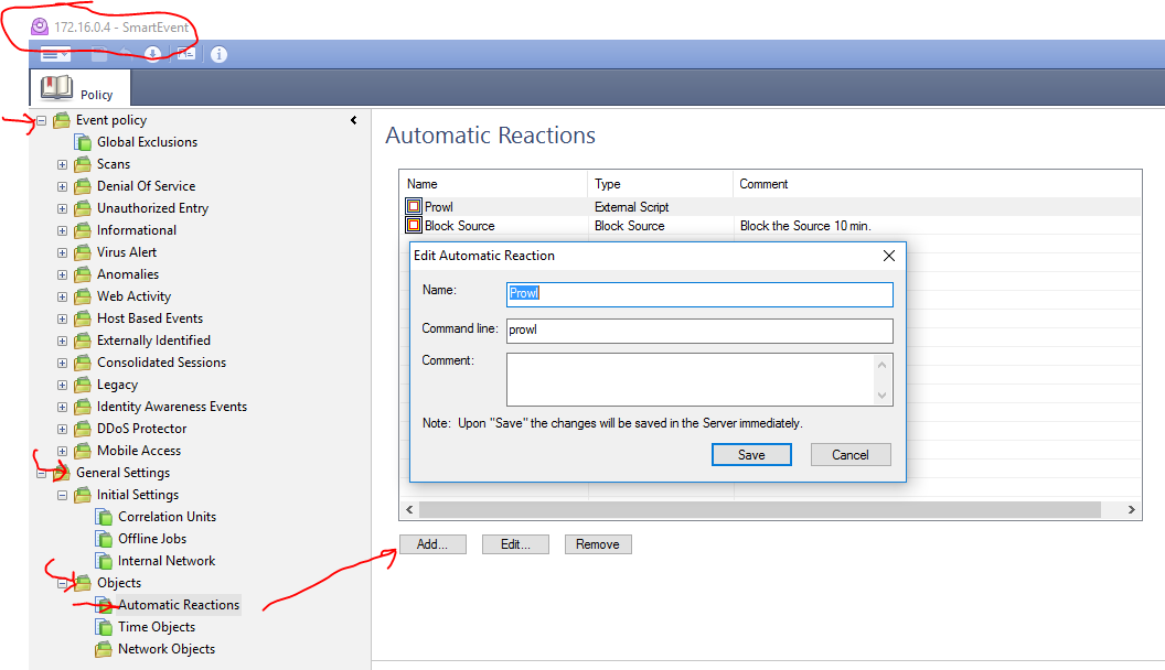 Create a new prowl trigger in Smart Event