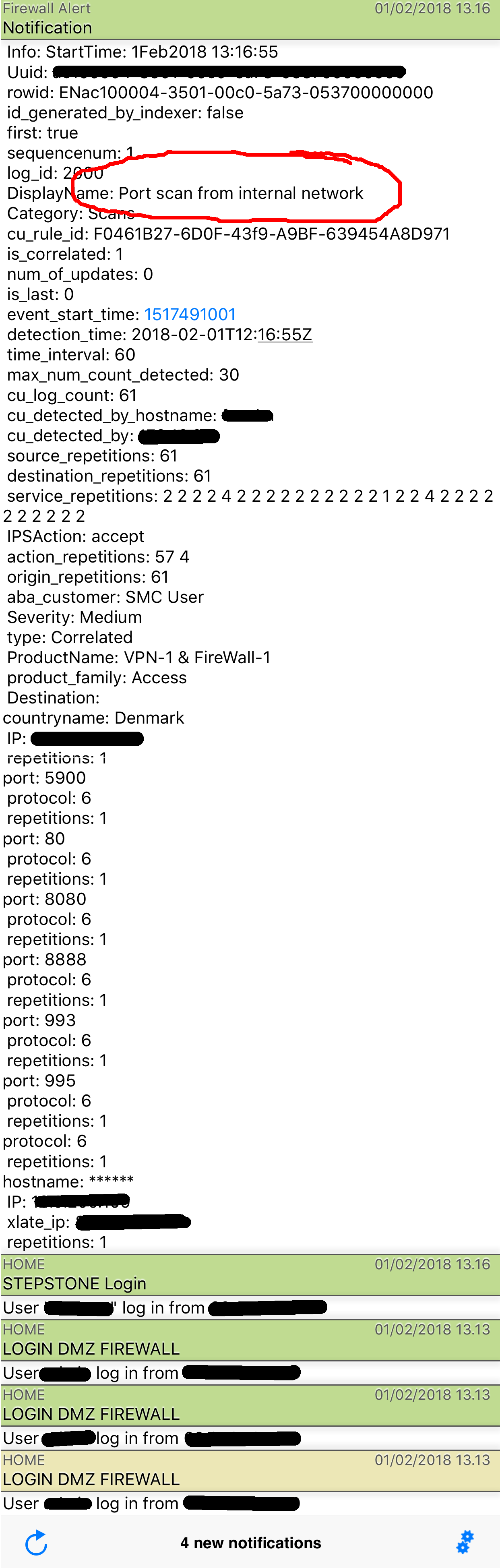 This is a prowl alert showing the details of a portscanning made from within the LAN