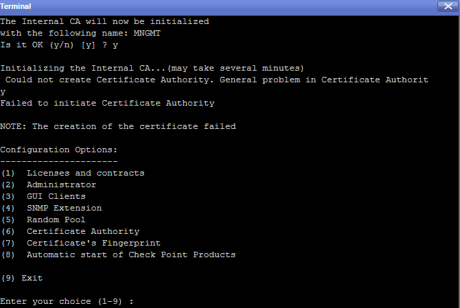 This is the error for Certificate Authority.