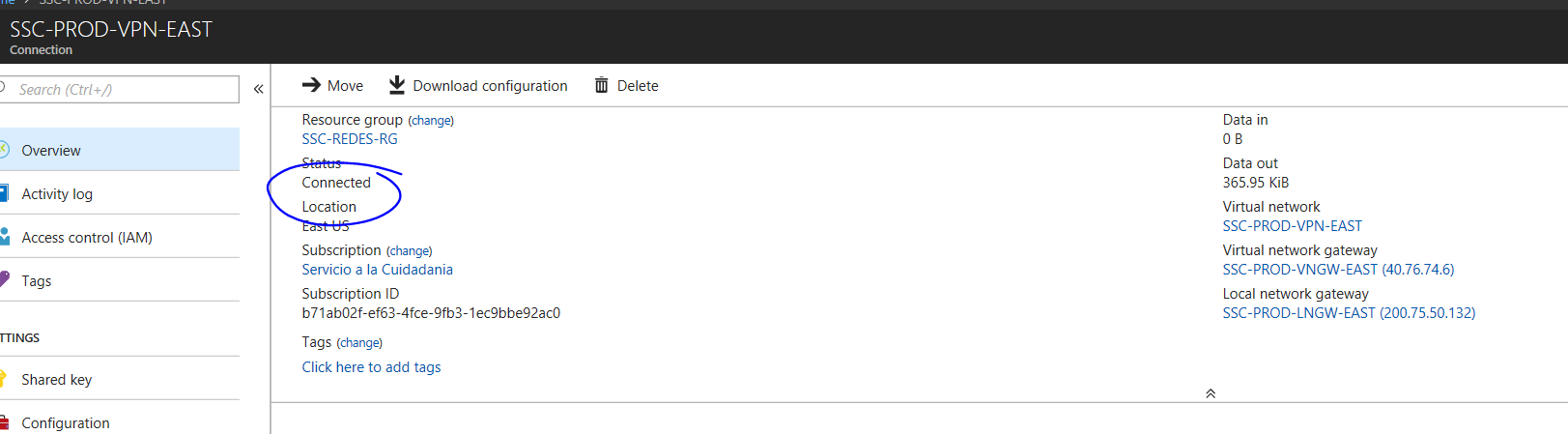 Azure Site to Site VPN issue  Connection seems to