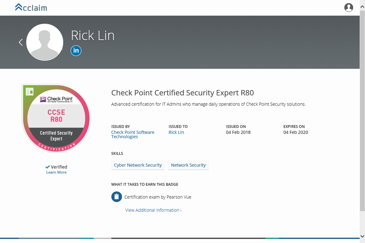 Check Point Certification Badges - Acclaim - Check Point CheckMates