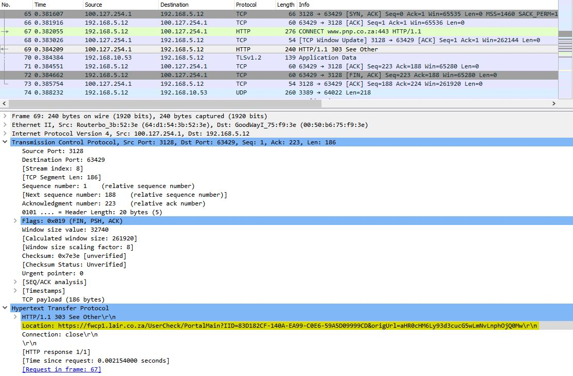 Wireshark showing proxy redirect