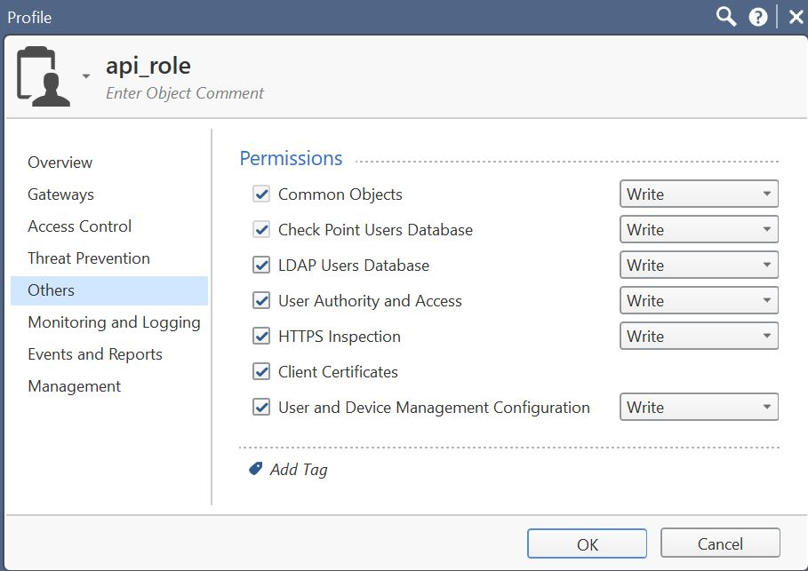 Privilege assigned to api_admin role (Others)