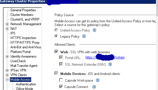 Solved: SSL Network Extender Legacy policy - Check Point