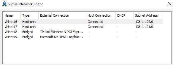 VMnet configuration