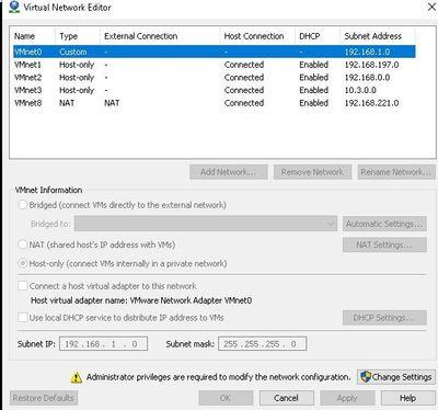 Vmware netwrok setting