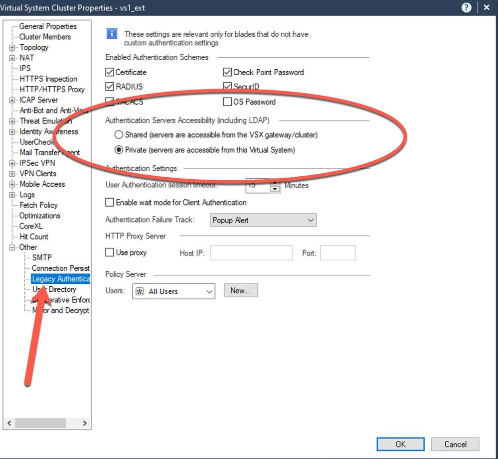 Virtual System Authentication Settings