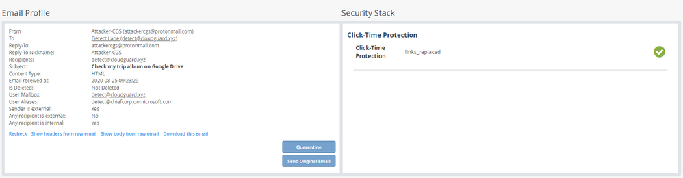 ClickTime Protection Benign link click event