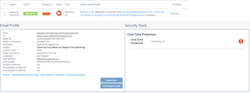 ClickTime Protection malicious link click event